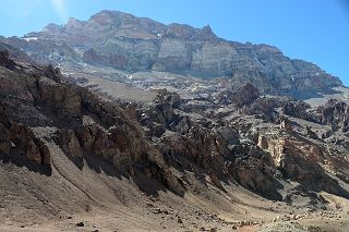 Aconcagua West Face Mid-Morning From Plaza de Mulas Base Camp